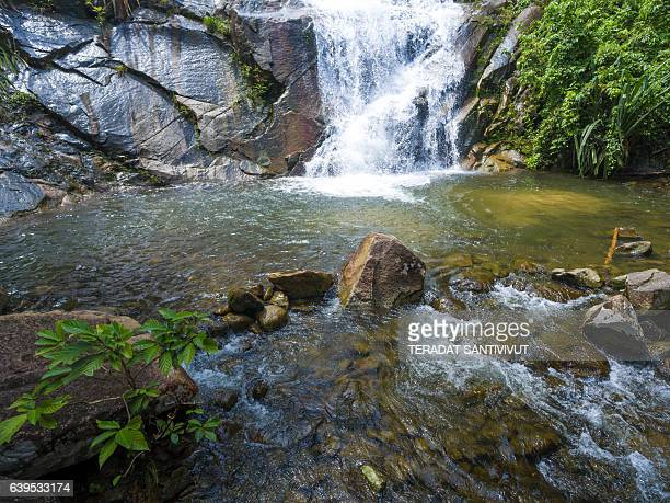 Aerial view of  kra chong waterfall in Trang south Thailand.