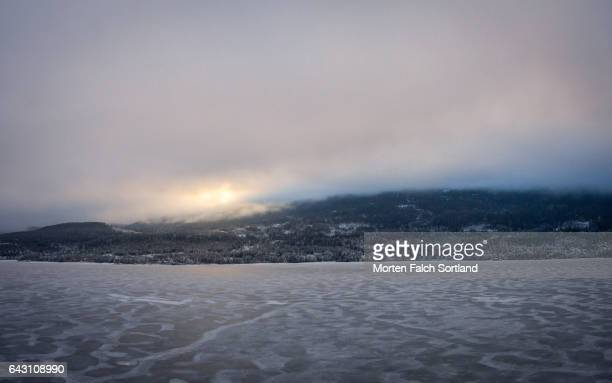 aerial view of kroderen lake - winter sports event stock pictures, royalty-free photos & images