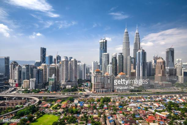 aerial view of kuala lumpur skyline - malaysia stock pictures, royalty-free photos & images