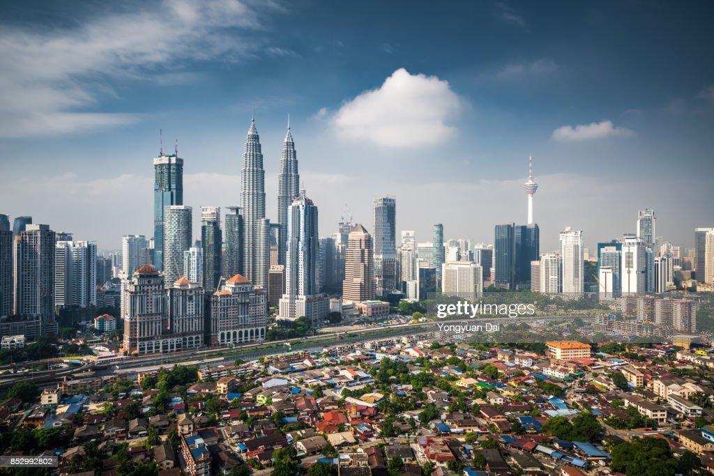 Vista aérea de Kuala Lumpur Skyline : Foto de stock
