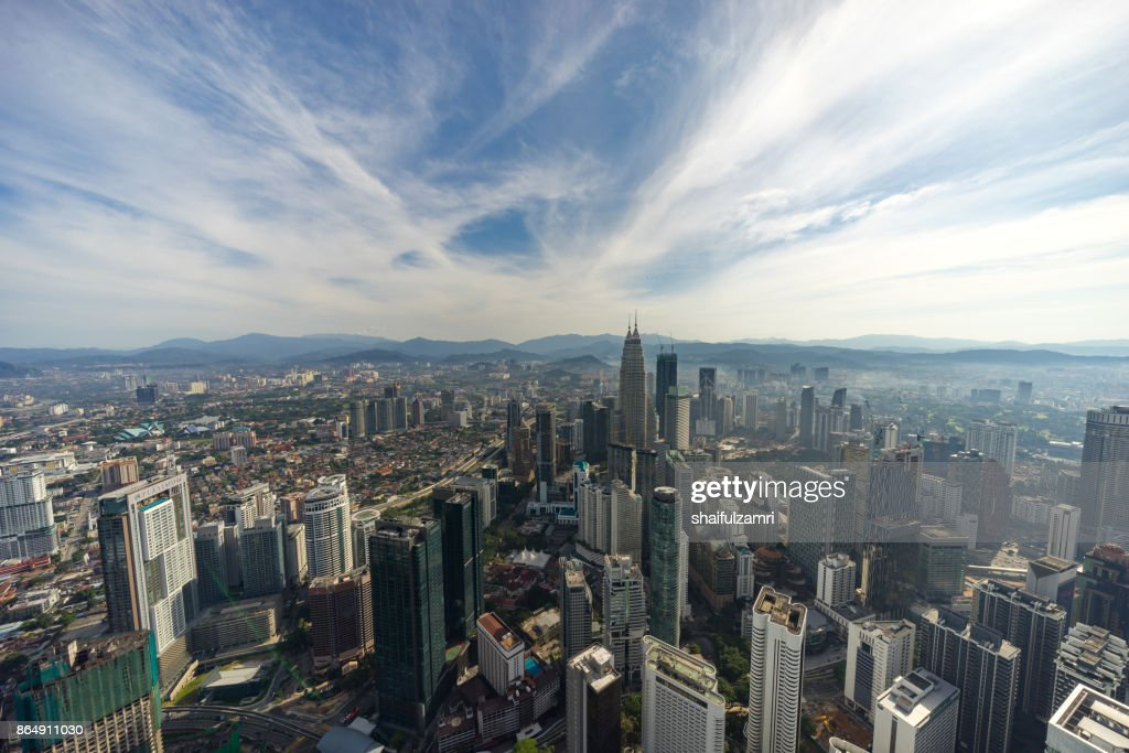 Aerial view of Kuala Lumpur with Petronas Twin Towers (451.9 metres), inspired by Tun Mahathir Mohamad's vision for Malaysia to be a global player. : Stock Photo