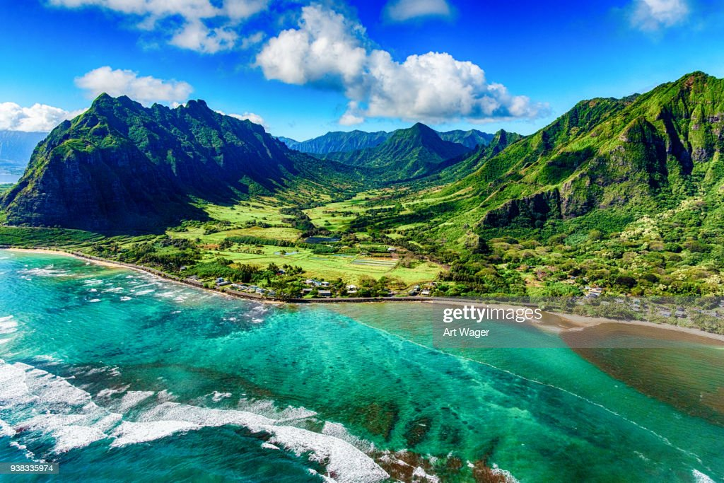 Aerial View of Kualoa area of Oahu Hawaii : Stock Photo