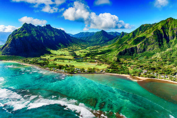 aerial view of kualoa area of oahu hawaii - horizontal stock pictures, royalty-free photos & images