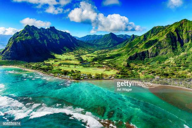 aerial view of kualoa area of oahu hawaii - landscape scenery stock photos and pictures