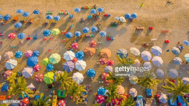 aerial view of  kuta beach, bali, indonesia - crowded beach stock pictures, royalty-free photos & images