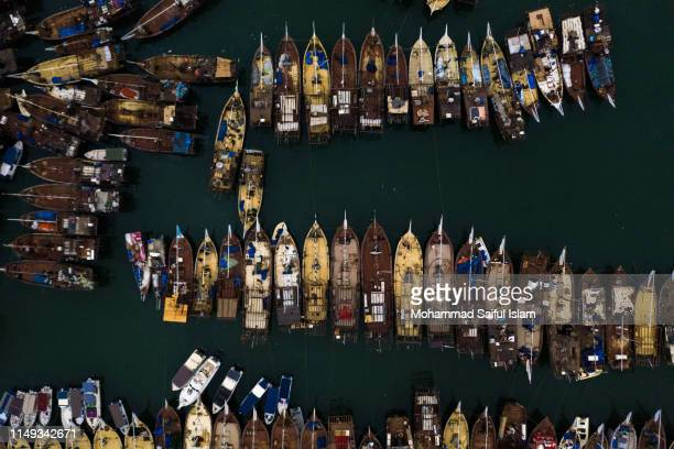 aerial view of kuwait fishing boat harbour in kuwait city - arabic script stock pictures, royalty-free photos & images