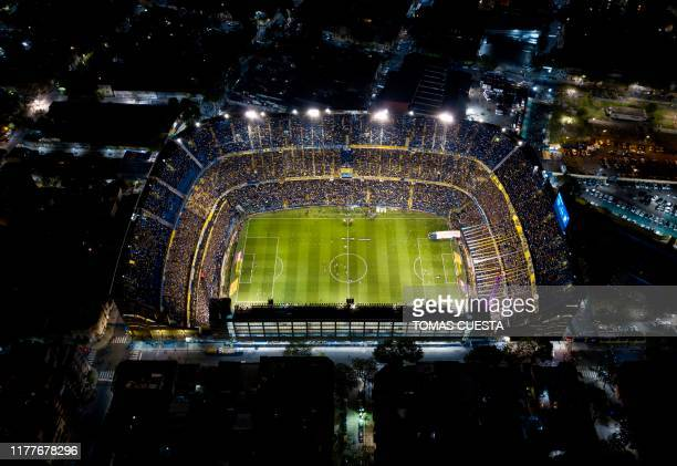 TOPSHOT Aerial view of La Bombonera stadium in Buenos Aires taken before the allArgentine Copa Libertadores semifinal second leg football match...