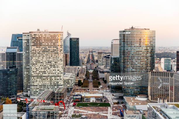 Aerial view of La Defense financial district during sunset in Paris, France