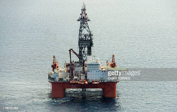 Aerial view of La Muralla IV exploration oil rig operated by Mexican company Grupo R and working for Mexico's stateowned oil company PEMEX in the...