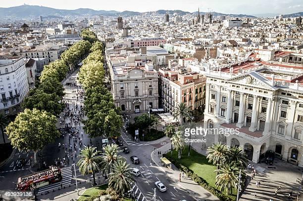 aerial view of la rambla from mirador de colom - the ramblas stock pictures, royalty-free photos & images