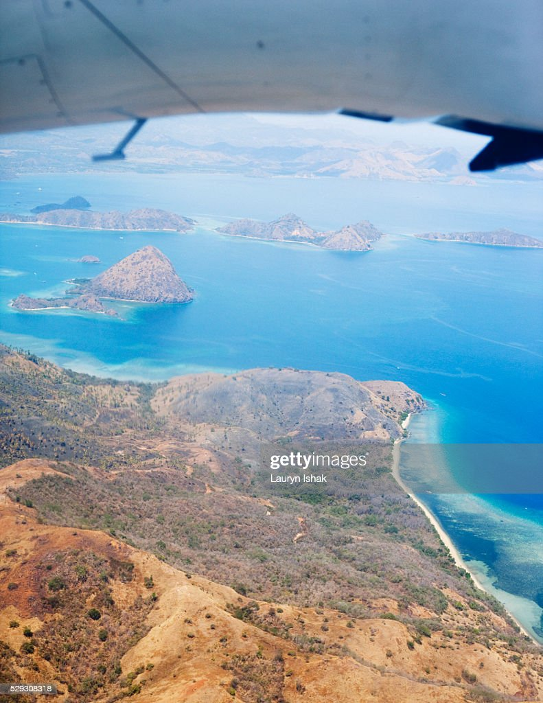 Aerial view of Labuanbajo on Flores island : Stock Photo