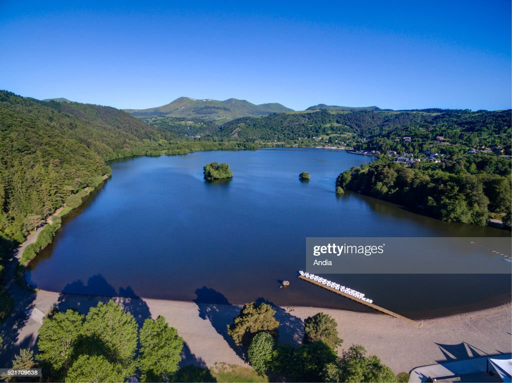 Aerial view of the crater lake Lac Chambon. : News Photo