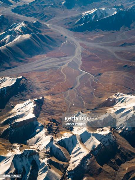 Aerial view of Ladakh from a passenger plane.
