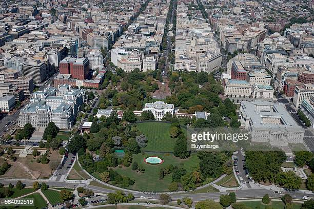 Aerial view of LaFayette Park located directly north of the White House on H Street between 15th and 17th Streets NW Washington DC