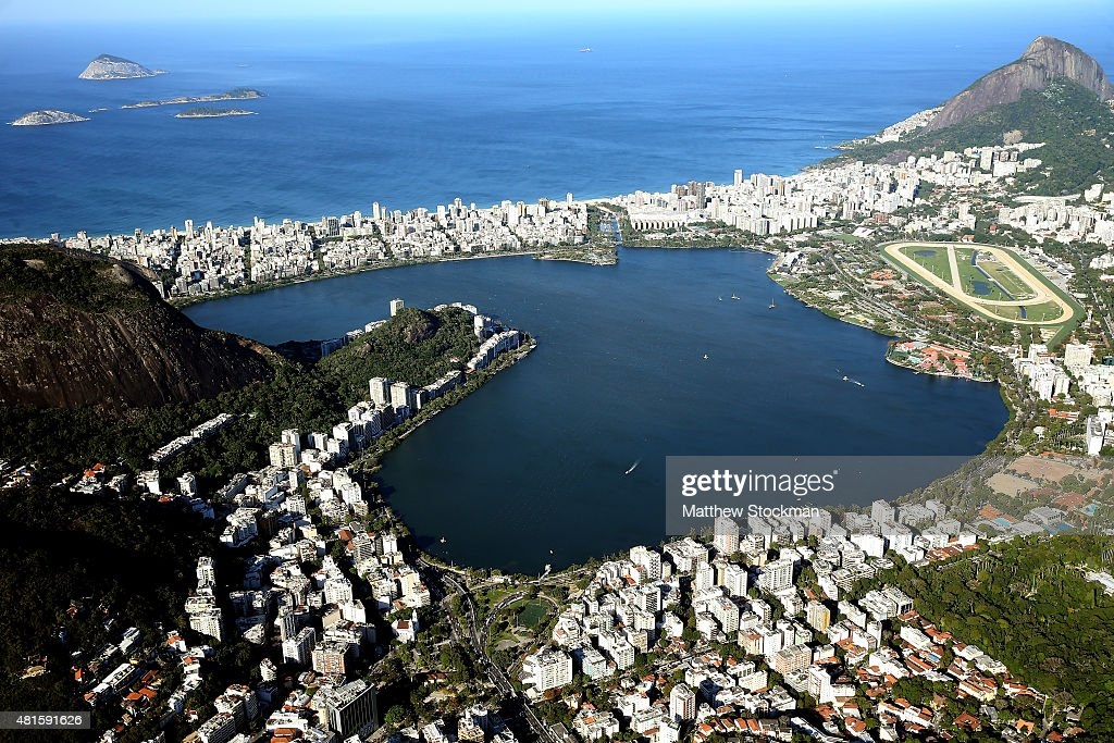 Aerial view of Lagoa Rodrigo de Freitas with nearly one year to go to the Rio 2016 Olympic Games on July 21, 2015 in Rio de Janeiro, Brazil. Lagoa will host the rowing and canoe sprint competitions in the Rio 2016 Games.