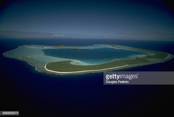Aerial View of Lagoon and Coral Atoll of Tetiaroa