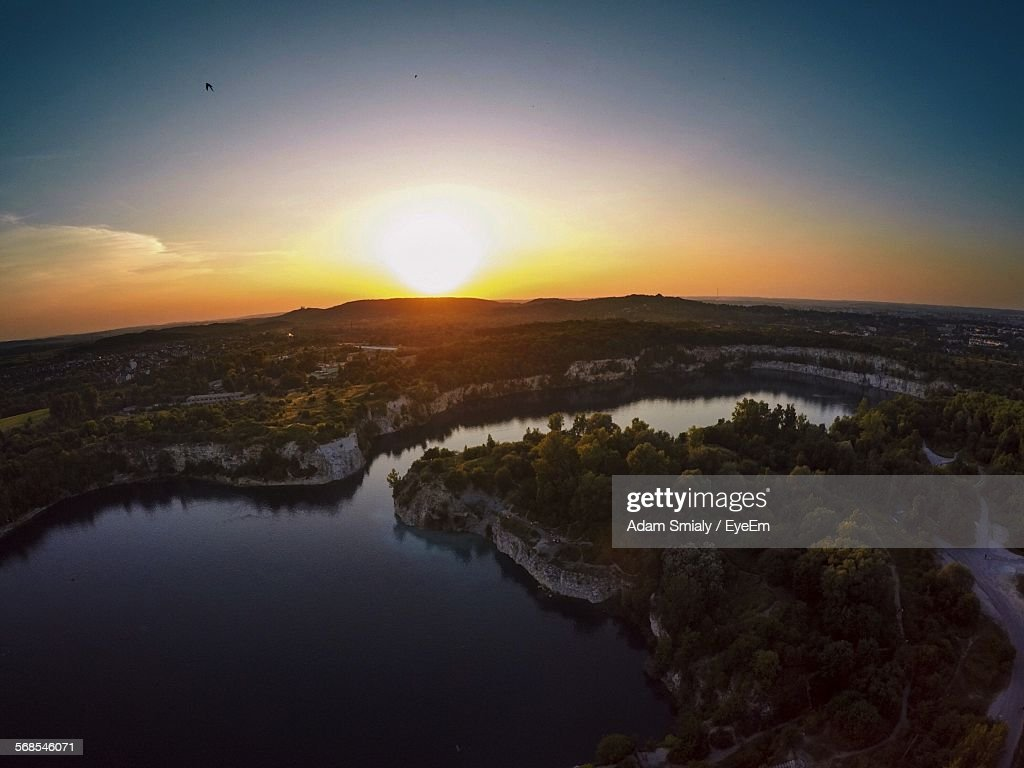 Aerial View Of Lagoon In Zakrzowek During Sunset : Stock Photo