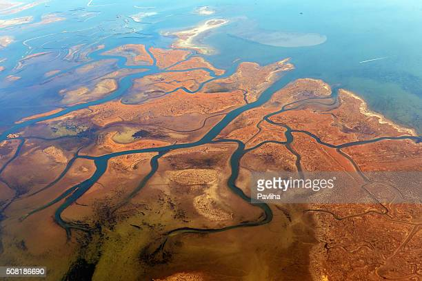 Aerial view of Lagoons near Venice, Veneto, Italy, Europe