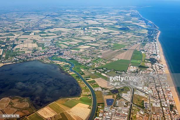 Aerial view of Lagoons near Venice, Veneto, Italy, Europe