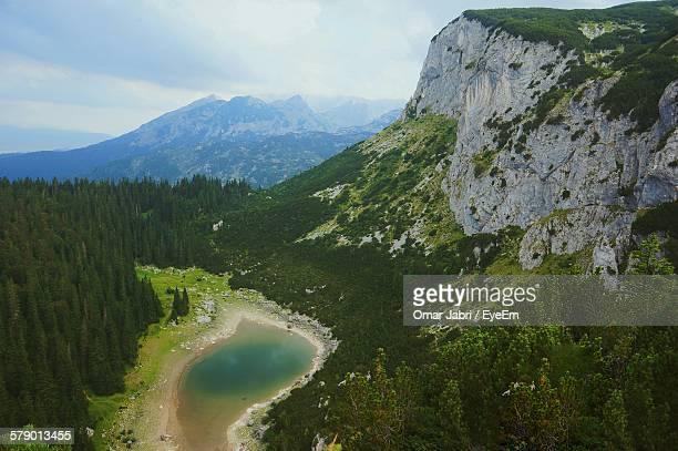 Aerial View Of Lake And Durmitor Mountains At Zabljak