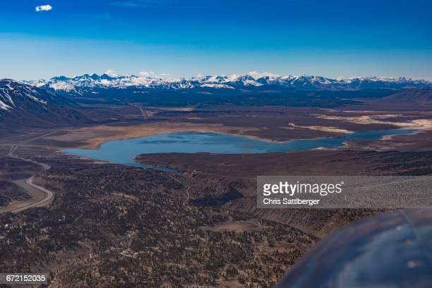 Aerial view of lake and mountains, Bishop, California, United States,