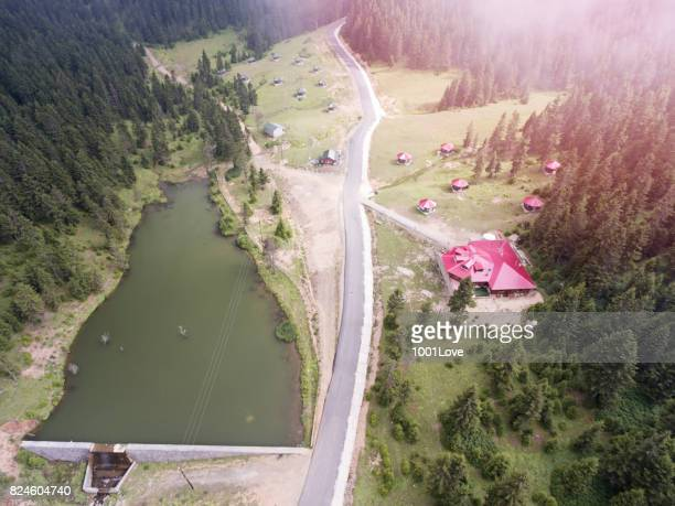 aerial view of lake and mountains - trabzon stock photos and pictures