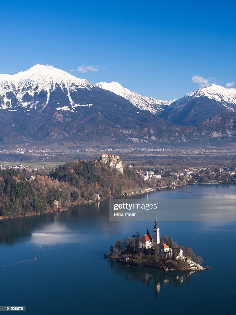 Aerial view of Lake Bled in winter time : Stock Photo