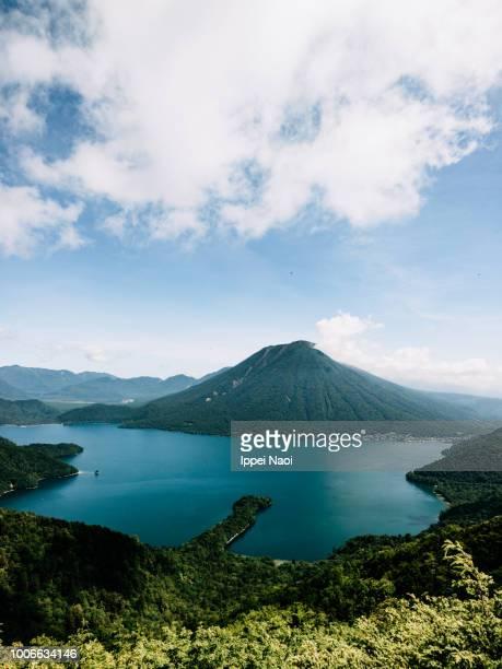 Aerial view of Lake Chuzenji and Mt. Nantai, Nikko National Park, Japan