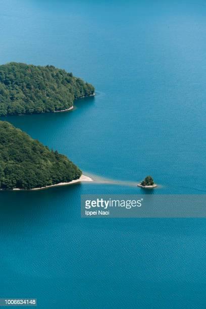 Aerial view of Lake Chuzenji, Nikko National Park, Japan