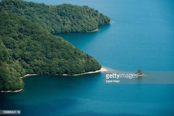 Aerial view of Lake Chuzenji, Nikko National Park, Tochigi, Japan