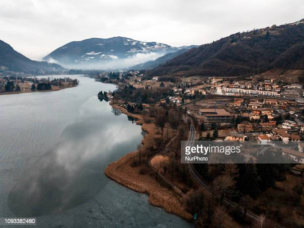 Aerial view of Lake Endine. The lake, in the province of Bergamo, every winter freezes, giving a natural show among the most beautiful in all of...