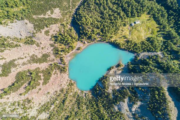 Aerial view of Lake Lagazzuolo, Valtellina, Italy