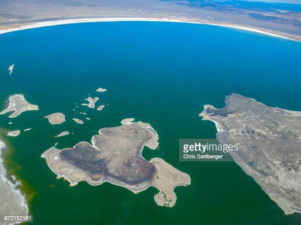 Aerial view of lake, Lee Vining, California, United States,