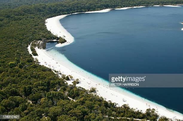 Aerial view of Lake Mckenzie, Fraser Island, Queensland, Australia