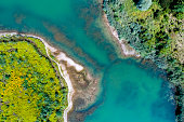 aerial view lake green islands bavaria
