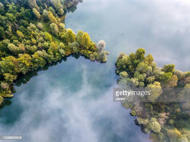 aerial view of lake - ecosystem stock pictures, royalty-free photos & images