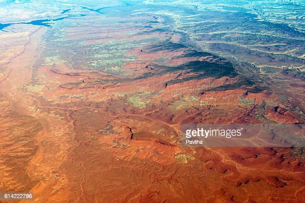 空から見た Lake Powell ユタアリゾナ州(米国)