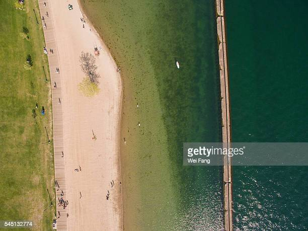 aerial view of lake shore - lakeshore stock pictures, royalty-free photos & images