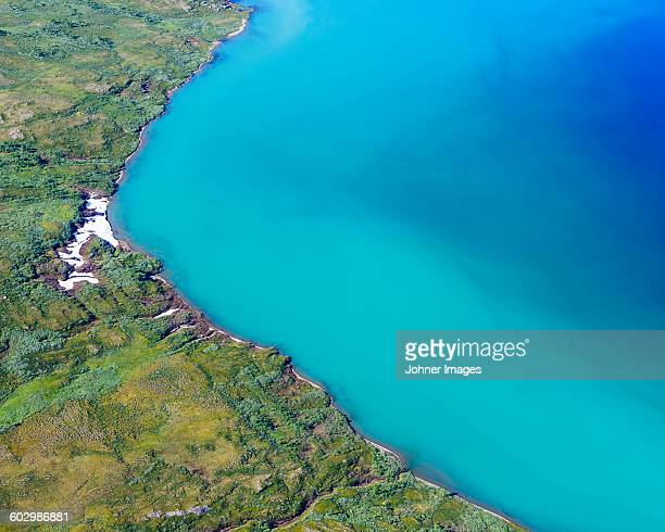 Aerial view of lake shore