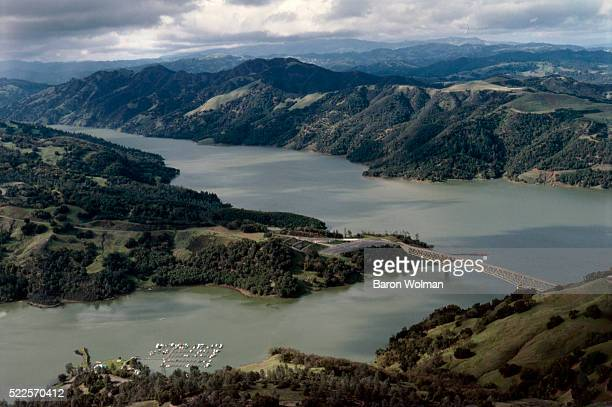 Aerial view of Lake Sonoma in Sonoma Country, CA, United States, circa 1970s.