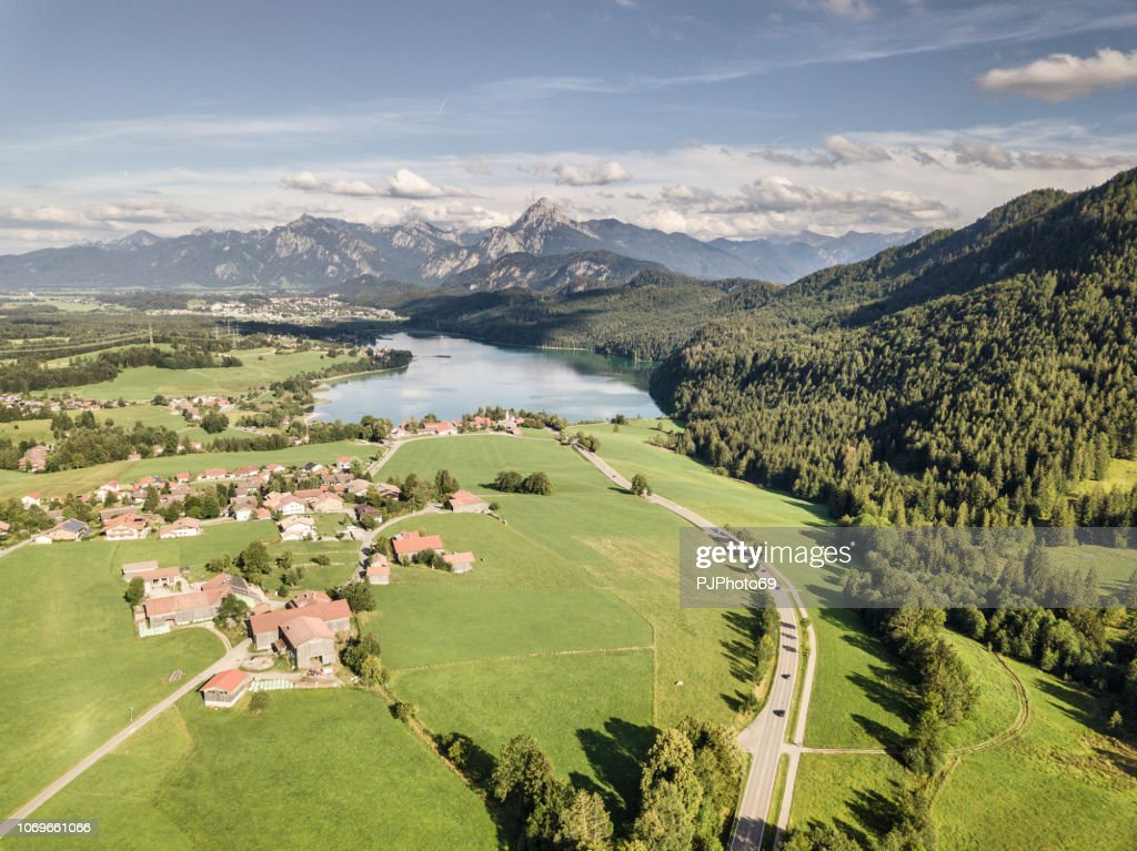 Aerial view of lake Weissensee in summer season - Carinthia : Foto stock