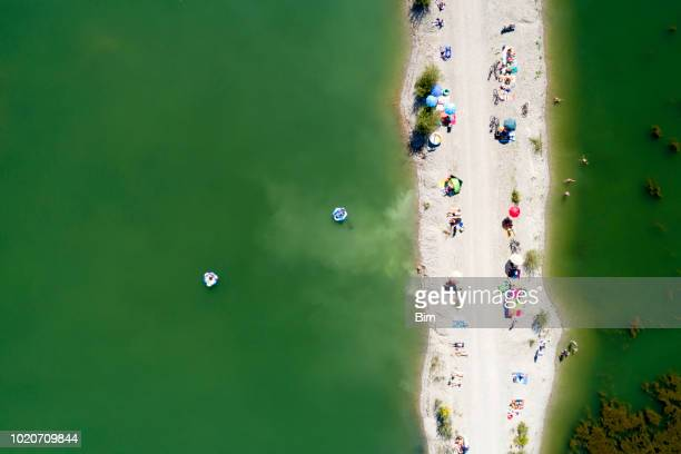 Aerial view of lake with people on the beach