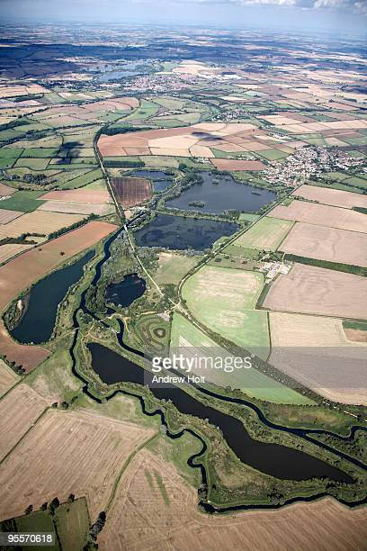 aerial view of lakes and fields, england - ノーサンプトンシャー ストックフォトと画像