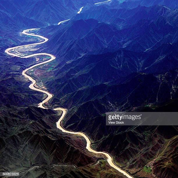 Aerial view of Lan Cang River,Yunnan,China
