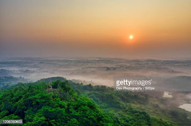 aerial view of land at sunset - ghana stock pictures, royalty-free photos & images