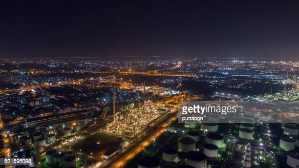 Aerial view of Land scape of Oil refinery plant at twilight time