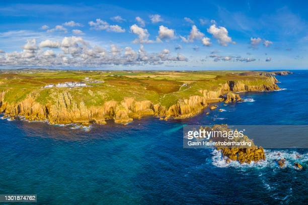 aerial view of land's end, penwith peninsula, most westerly point of the english mainland, cornwall, england, united kingdom, europe - gavin hellier stock pictures, royalty-free photos & images