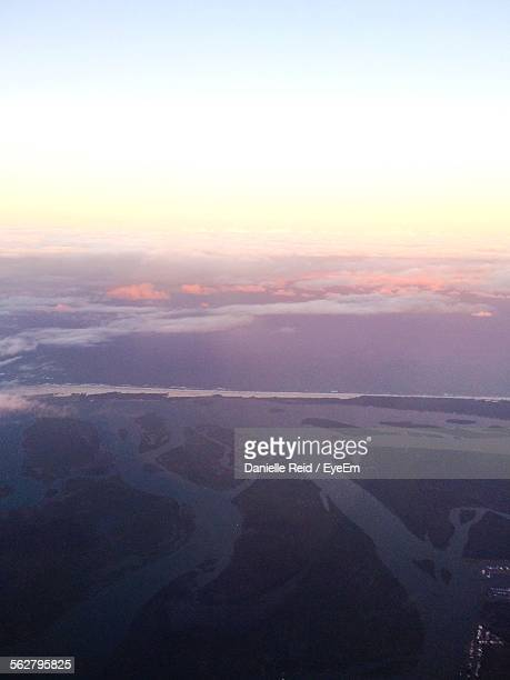 aerial view of landscape against clear sky during sunset - reid,_wisconsin stock pictures, royalty-free photos & images
