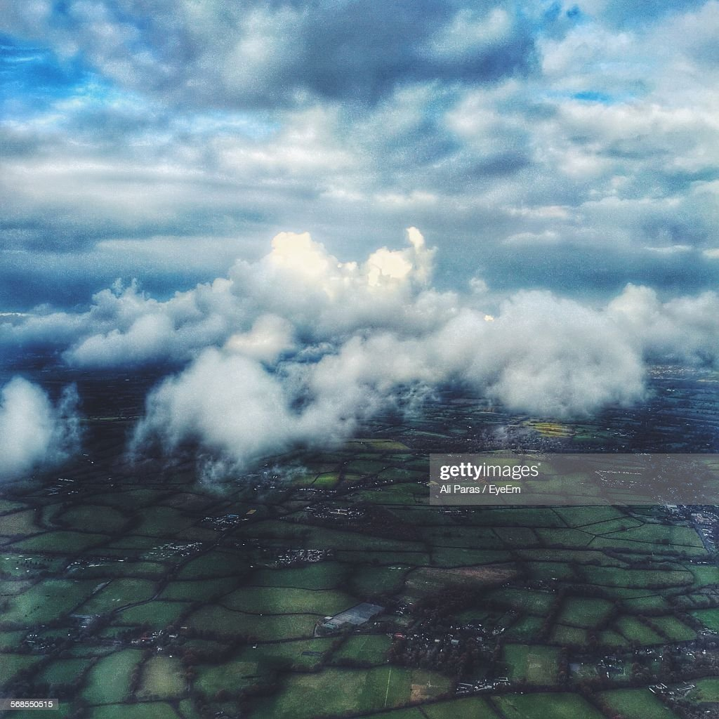Aerial View Of Landscape Against Cloudy Sky : Stock Photo