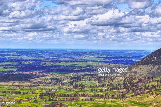 aerial view of landscape against cloudy sky - wolfsburg lower saxony stock pictures, royalty-free photos & images